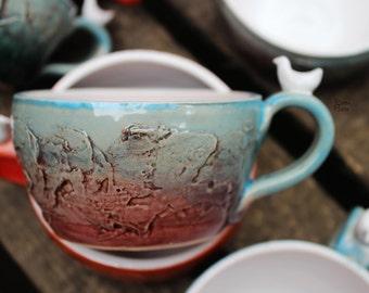 Ready To Ship Texture Blue Mug Orange Mug Colorful Pottery Mug Unique Coffee Cup Handmade Mugs Ceramic Mug Gift For Her Gift For Him