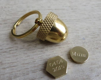 Secret Container Acorn Locket Keyring