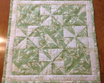 Spring Green Centerpiece, Table Topper, Candle Mat - Reversible, Pieced and Quilted