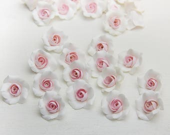 "White Roses beads (5pcs), white, pink roses, Flower beads, handmade beads, polymer clay beads 0,6""-0,64"" (1,5-1,6cm), rose beads"