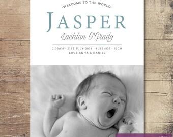 Printable 'Jasper' Birth Announcement / Customisable Digital File / JPG or PDF / Blue