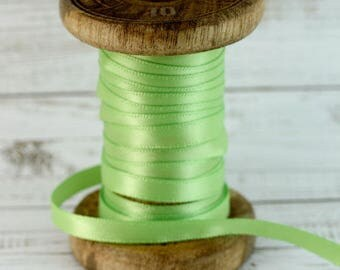 6mm Lime Double Sided Satin Ribbon