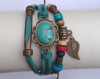 Handmade leather bracelets with Charms