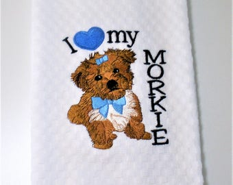 "Morkie  Towel, Morkie Gift, Morkie Owner Gift, Morkie Decor, Morkie Lover, Dish Towel, Hostess Gift, Birthday ""Prince or Princess"""