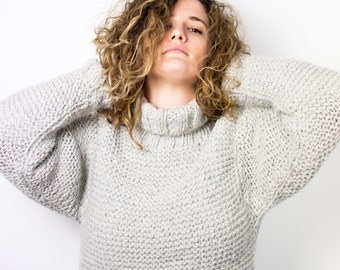 Chunky hand knitted sweater in wool and alpaca | cozy and warm oversized winter pullover | mod. BEECH
