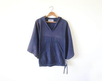 Vintage navy hoodie top / woven cotton pullover hoodie