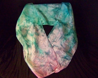 Silk Neck Scarf - Turquoise to Pink
