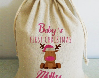 Personalized Santa Sack, Personalized Christmas Stockings, Personalized Santa Bag, Personalized Christmas Sack,Baby First Christmas Stocking
