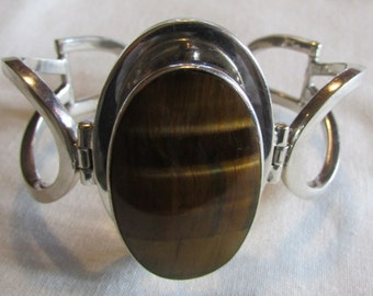 Sterling Silver and Tigerseye Bracelet from Taxco