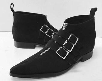 3 Buckle Winklepicker Boots in Black Suede