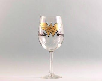 Wonder Women Wine Glass - Hand Painted Wine Glass -  Mother's Day Wine Glass