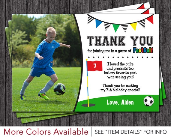 footgolf birthday thank you card soccer golf birthday thank you