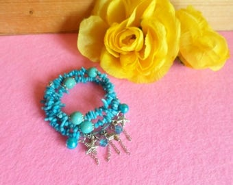 handmade bracelet turquoise stone chips and pasta