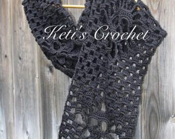 Crochet Skull Scarf,Black Skull Scarf,Skull Scarf,Crochet Scarf,Crochet Infinity Scarf,Crochet Halloween,Halloween,Pirate Skull Scarf,Pirate