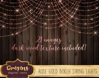 Rose Gold Bokeh Sparkling String Lights - Digital Overlay PNG Fairy Lights, wedding lights, pink baby shower, glitter shimmer sparkle