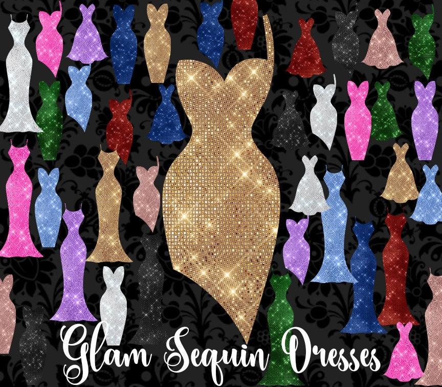 Glam Sequin Dresses Clipart, Fashion Glitter Dress Clip