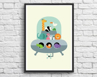Art-Poster 50 x 70 cm for kids  - Baby Animals in flying saucer