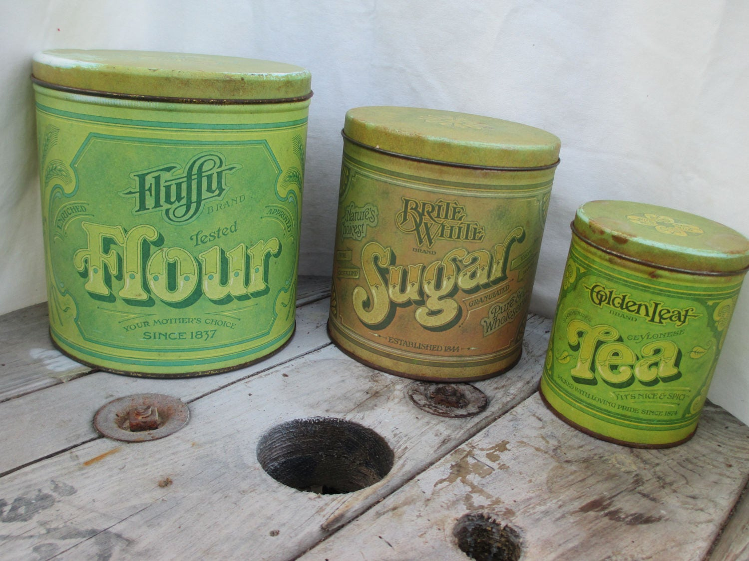 Green Canister Sets Kitchen Nesting Canister Set Etsy