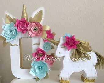 Unicorn Letter Mini Piñata Gift Set/ Unicorn Birthday/ Unicorn Photo Prop/ Unicorn Centerpiece/ Unicorn Decoration/ Unicorn First Birthday