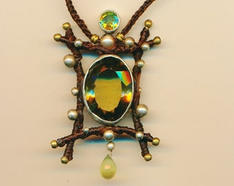 Lemon Topaz, Peridot and Prehnite set in 92.5 sterling silver and macrame pendant.