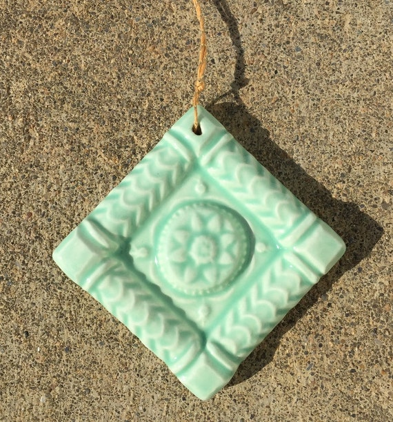 Ceramic Tree Ornament -- 2x2 Ceramic ButterMold Accent Tile Ornament in Sea Glass glaze