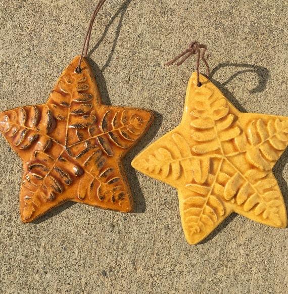 Ceramic Ornament -- Fern Leafstar Ornaments, Set of 2 in Wild Honey & Amber