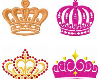 Crowns 10 designs machine embroidery 4x4 hoop