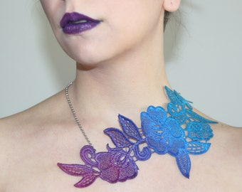 Ombree teal, blue, purple lace necklace. Statement necklace, italian lace, venice lace, goth jewelry