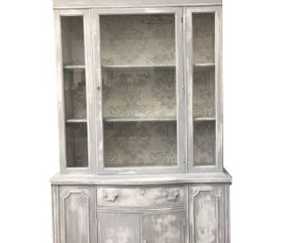FREE SHIPPING if Ordered by 2/26!  Distressed Farmhouse Chic Hutch Storage Cabinet/Living Room Storage/Linen Storage/China Cabinet