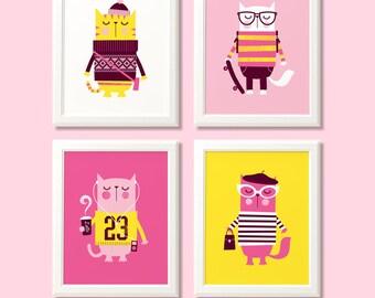 Cat nursery prints, hipster cats, cat prints, nursery art, nursery wall art, nursery prints, kitty cat, cat wall art, cats, cat art