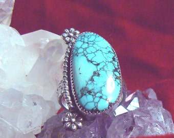Black Widow Spiderweb Turquoise and Sterling Silver Ring, Size 9.5 US, 14 carat