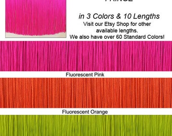 """9"""" (other lengths available) Fluorescent Chainette Fringe Trim ~ Performance or Dance Outfit, Ballroom, Costumes! Lime, Pink or Orange"""