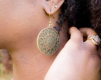 Tribal Dangle Earrings - Bronze Jewelry - Belly Dance Jewelry - Statement Earrings - Tribal Fusion Earrings - Medallion Earrings - EA0002