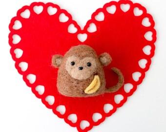 Valentine's Day / Needle Felted Monkey Konigiri with Banana, Felted Animal, Cute Kawaii Valentine's Day Gift