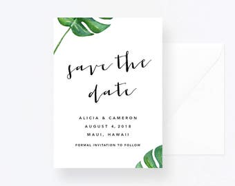 Tropical Leaves Wedding Save The Date, Hawaii Wedding, Leaves Save the Date, Hawaii Invite, Hawaii Save the Date, Green Leaves Wedding Pdf