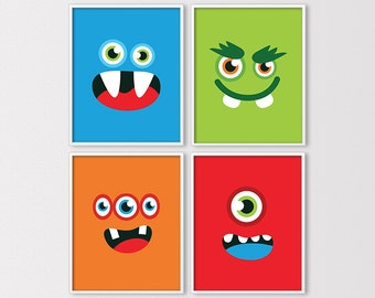 Monster Nursery, Monster Prints, Monsters, Monster Wall Art, Boys Monsters Print, Boys Room, Little Monster Nursery Art, Instant Download
