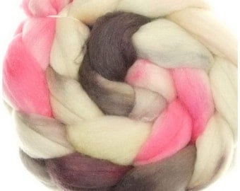 Merino Tussah No. 8 handyed roving combed top for spinning and felting #16889