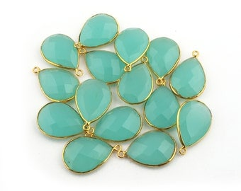 5 PCS AAA Quality 24k Gold Plated Aqua Chalcedony Pear Drop Single Bail Pendant - Aqua Chalcedony Pendant 27mmx17mm BC-420