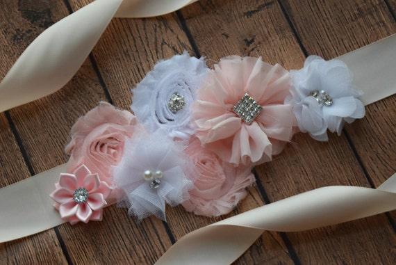 Sash,White and blush Sash , flower Belt, maternity sash, blush sash, wedding sash, flower girl sash