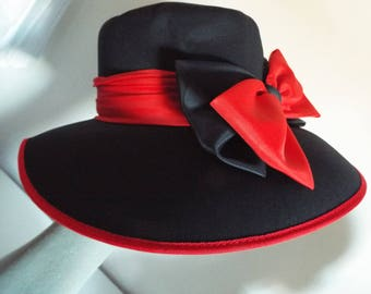 Ladies Hat  Large Bucket Brimmed Hat in a Stunning Navy and Red .....Navy and red large double bow front