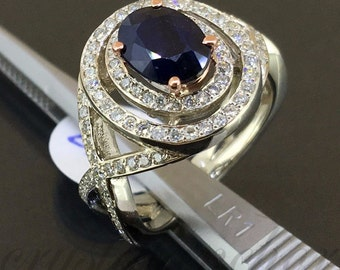 NEW 14k White gold Natural Blue Sapphire & Diamond Double HALO Fancy ring 2.06ct