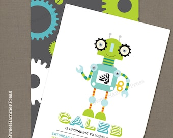 Robots Birthday Party Invitation Robot Party Boy Birthday Green Blue and Grey Party Invitation Download or Printed Birthday Nuts and Bolts