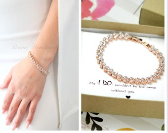 Crystal Bridal Bracelet Wedding Jewelry Crystal Bracelet   Rose Gold Bridesmaid Jewelry silver Gold Wedding Bracelet