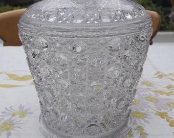 Victorian Davidson Pressed Clear Glass Biscuit Jar