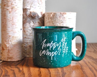happy camper mug // green camp mug // summer coffee cup // birthday gift // mother's day gift // teacher gift // graduation gift
