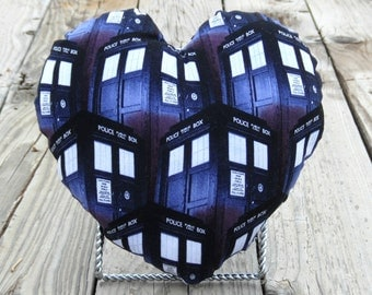 Heart shaped pillow with Doctor Who print