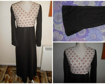 Vintage Retro 1970s Boho Chocolate Brown Lace Detail Bell Sleeve (Sleeved)  Maxi Dress UK 14 16 Made In England