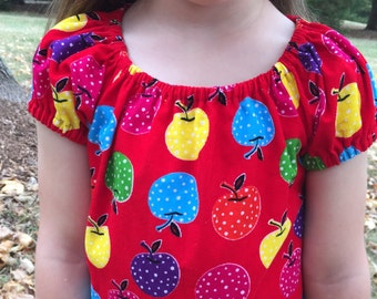 Apple Dress Corduroy Fall Clothing for Girls Dresses Toddler Dress Cap Sleeved Dress in Red Apple Corduroy Short-sleeved Dress size 4T