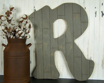 Farmhouse Wall Decor Pallet Style Wooden Letter R Rustic Home Decor Fixer Upper Style Gallery Wall Decor Fixer Upper Decor Farmhouse Style