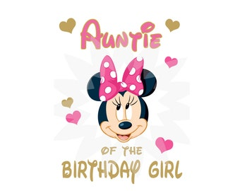 Instant download, Matching Auntie, Minnie Mouse Digital Image for T shirt, Printable Iron On Transfer, 1st Birthday, Birthday Shirt image